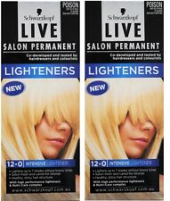 2 X SCHWARZKOPF LIVE SALON PERMANENT HAIR COLOUR 12-0 INTENSIVE LIGHTENER NEW