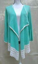 Liz Claiborne Women's Size M Long Sleeve Knit Cardigan Green Open Front