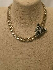 Womens Statement Gold Crystal Cat Lion Tiger Leopard Head Link Chain Necklace