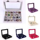 Organizer Case Box Holder Storage Glass Jewelry Earring Velvet Display Ring