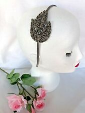 VINTAGE DECO 1920s SILVER GREY BEADED BRIDAL HEADBAND WEDDING GREAT GATSBY PROM