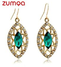 Australian Hook Dangling Green Stones Studded Earrings by ZUMQA