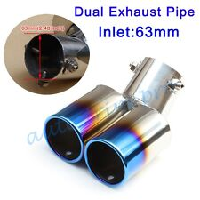 """Universal 2.48"""" 63mm Inlet Rear Exhaust Muffler Tail Tip End Pipe Dual Outlet"""