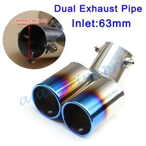 """Universal 2.48"""" 63mm Rear Exhaust Muffler Tail Tip End Pipe Dual Outlet Decorate"""