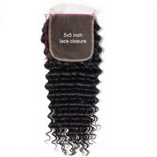 5by5 Lace Closure Deep Wave Free Part 100 Virgin Remy Hair Natural color 10