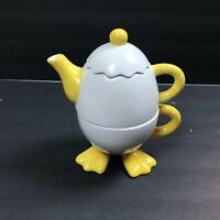 Bella Casa by Ganz Teapot w/ Lid & Cup Tea For One Cracked Egg w/ Duck Feet