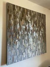Wandbild 80x80cm Leinwandbild gespachtelt abstrakt braun NEU split Bild