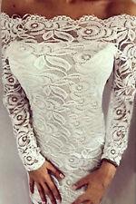 Abito aperto ricamato pizzo Scollo Fascia Elegante Cerimonia Party Lace Dress L
