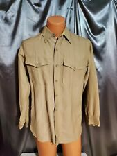 M Vtg 40S Wwii Mens gabardine wool Army patches Button Military uniform Shirt