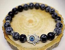 UK Ladies Hamsa Hand of Fatima Natural Energy Stone Power Bead Bracelet for Men