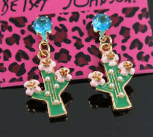 New Betsey Johnson Charm fashion blue Crystal cactus Jewelry earrings gift