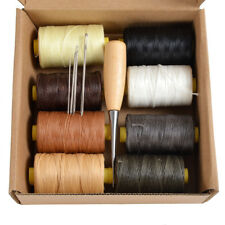 Pack 8 x 100m 1mm Flat Sewing Leather Waxed Thread + Needles + AWL Leathercraft