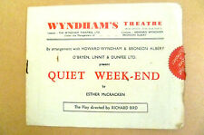 Wyndham's Theatre Programme- QUIET WEEK-END by Esther McCracken