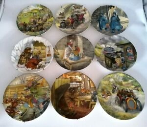 """9 Wedgwood Wind in the Willows 8"""" Bone China Decorative Plates (1  CHIPPED) QR73"""
