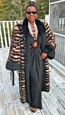 Rare Designer full length black & Cream white Badger & Fox Fur coat Jacket M-L
