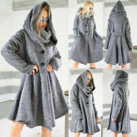 Women's Winter Warm Hooded Cape Coat Ladies Loose Poncho Jacket Outerwear Tops
