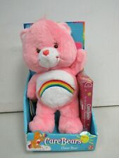 "2002 Nib Cheer Bear 13"" Care Bear Pink Plush w/ Cartoon Vhs Tape S1K"