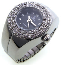 Ring Watch Finger Rhinestone Silver Color Plated Quality Flexible Strap