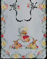 """Spring Embroidered Easter Bunny Egg Floral Table Cloth Runner 15x34"""" Rabbit 6709"""