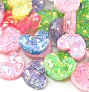 10X multicolor resin Sequin Love heart Rhinestone Flatback Decoration Accessorie