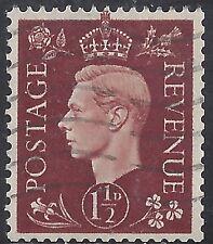 "Great Britain Stamp - Scott #237/A101 1 1/2p Red Brown ""George Vi"" Canc/Lh 1937"