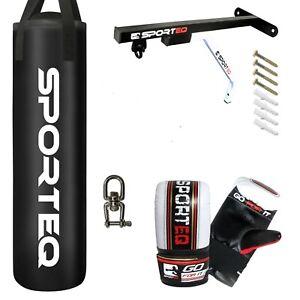 Sporteq Boxing Set 3/4/5ft Filled Heavy Punch Bag Sets, Gloves,Bracket, Swivel