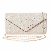 Gold Polyester Fashion Envelope Clutch Bag Handbag Shoulder Chain for Women