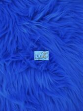 SOLID GRIZZLY SHAGGY FAKE FUR FABRIC - Royal Blue - BY YARD COAT COSTUME SCARF