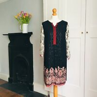 Black Red White Floral Hippy Boho Print Sequin Embroidered Indian Tunic Dress 8