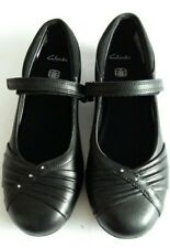New Clarks Junior Girls Black Leather School Shoes Size UK 10 - 2.5 Fit F-G