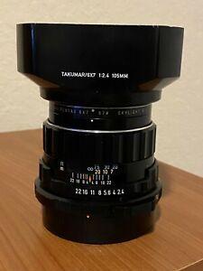 Pentax 67 105/2.4 lens with Pentax brand hood skylight filter, close up lens, ca