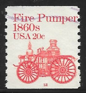 U.S. Scott #1908 20-Cent Fire Pumper Plate #12 Used PS1 F-VF with PMC Cat. $100