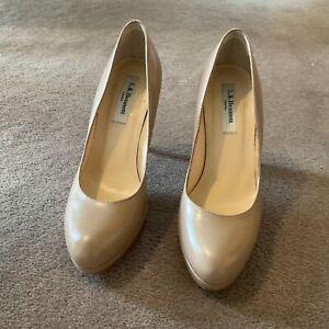 L K Bennett Ladies Nude Court Shoes Size 37/4 1/2