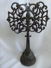 Vintage Cast Iron Ornate Fleur de Lis Door Stop Decorative Piece