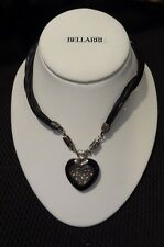 Ken Craft N2422X Sterling Silver Onyx Heart Black Leather Cord Necklace