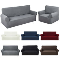 Housse de Canapé Spandex Polyester Lycra Fini 1/2/3 Place Sofa Extensible FR CW
