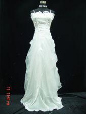 Cherlone Weiß Lange Ballkleid Brautkleid Hochzeitskleid Brautjungfer Kleid 40