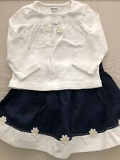 gymboree Girl size 18-24mo/2T, 2-piece outfit, Top/Skirt, Daisy Trim, Navy/white