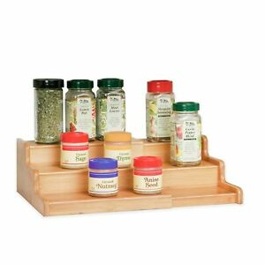 Seville Classics 3-Tier Expandable Bamboo Spice Rack Step Shelf Cabinet O... New