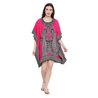Pink Black Paisley Women Tunic Top Kaftan Long Sleeve Casual Mini Boho Dress