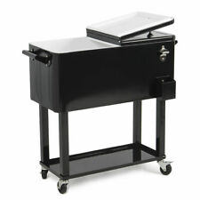 Portable Outdoor 80 Quart Steel Party Cooler  Rolling PatioCart Ice Chest, Black