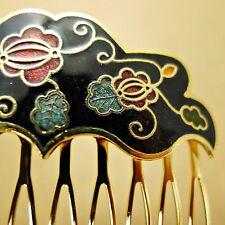 """Cloisonne 2.25"""" Hair Comb Black Flowers Painted Enamel Vintage Style Updo Clip"""