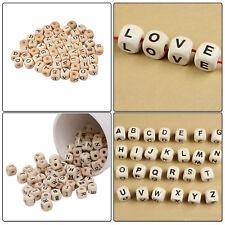 100pcs 10mm Wooden Letter Beads with Black Alphabet Bracelets Necklace DIY Craft