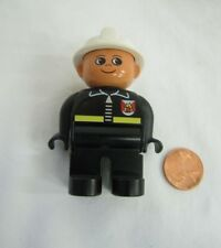 "LEGO DUPLO FIREFIGHTER FIRE CHIEF FIREMAN for FIRETRUCK 2.5"" Rare in White Hat"
