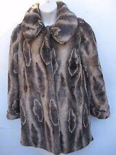 Fall Winter HILARY RADLEY Beige Brown Women Acrylic Polyester FAUX FUR Coat S