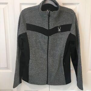NWT Spyder Mens Racer Full Zip Jacket Small Charcoal Heather NEW Fleece Sweater