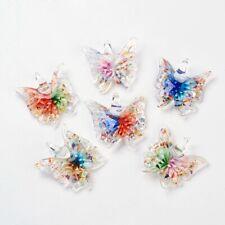 12pcs/box Handmade Lampwork Glass Butterfly Pendants Charms 38~45x44~50x8~12mm