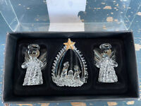 Robert Stanley Angel and Nativity CHRISTMAS Crystal Ornaments set of 3 RARE 2017