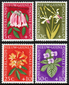 Netherlands New Guinea B19-B23, Mint. Flowers.Bignonia,Orchid,Rhododendron, 1959