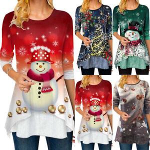 Damen Weihnachten Sweatshirts Weihnachtsbluse Weihnachtspulli Jumper Longtops
